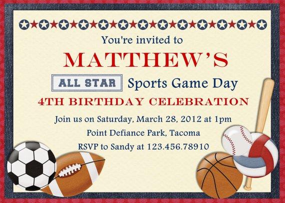 Sports Birthday Party Invitation Wording