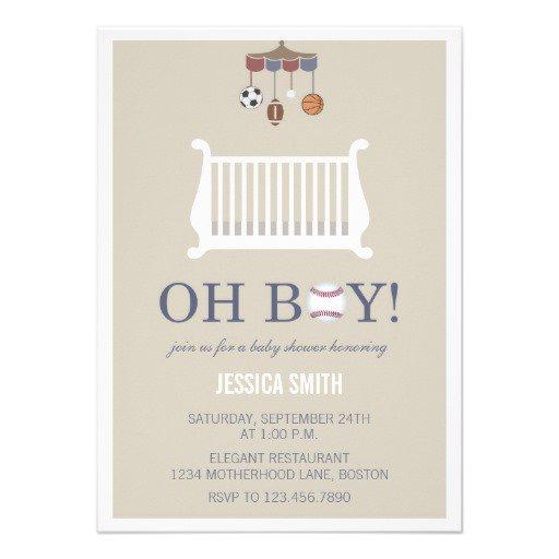 Sports Boy Baby Shower Invitations