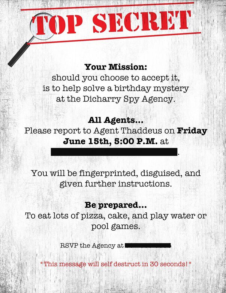 Spy Birthday Party Invitations