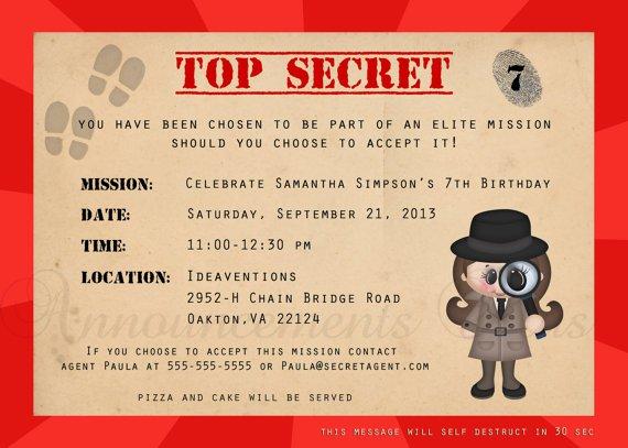 Spy Invitations Birthday Party