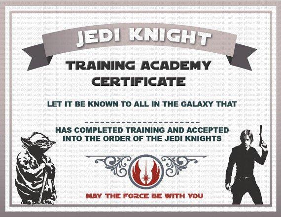 Star Wars Certificate Printable