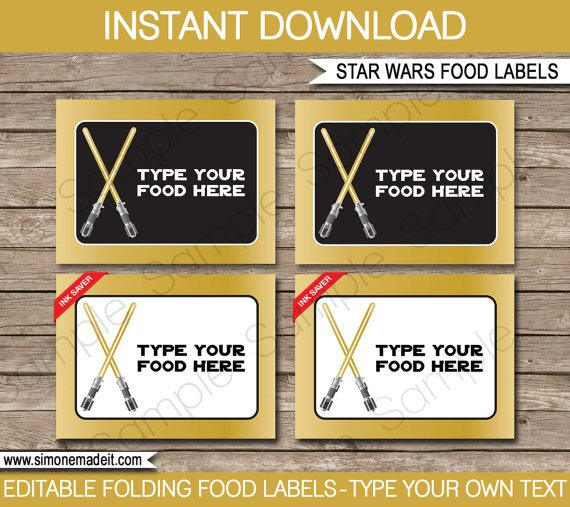Star Wars Food Labels Templates