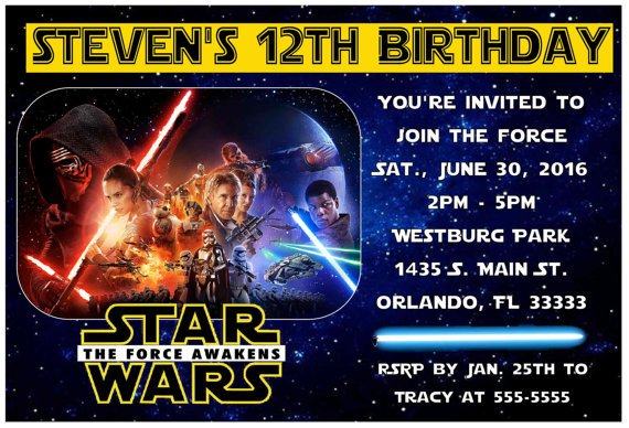 Star Wars The Force Awakens Birthday Invitations Printable