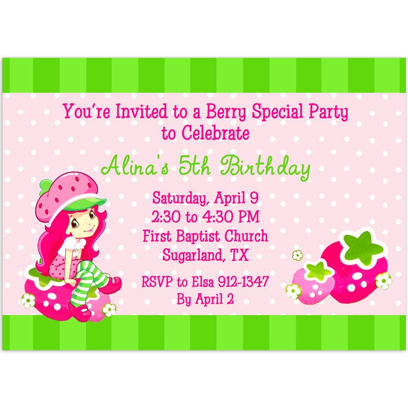 Strawberry Shortcake Birthday Invitations Printable