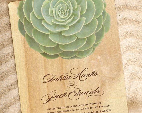 Succulent Wedding Invitation Etsy