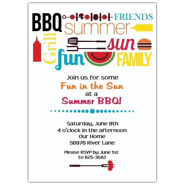 Summer Bbq Party Invitation Wording