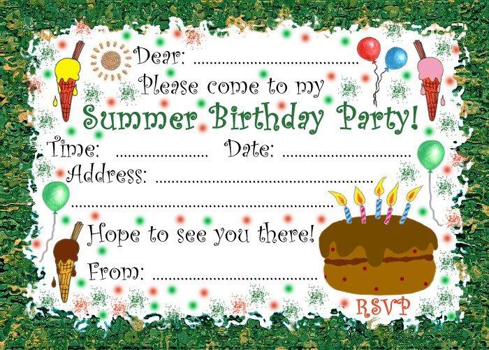 Summer Birthday Party Invitations-printable