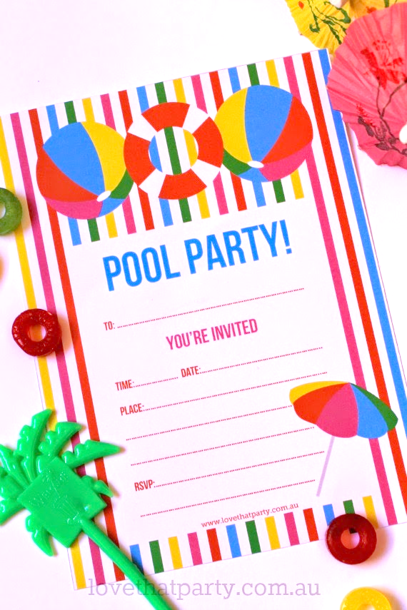Summer Pool Party Invitations Printable