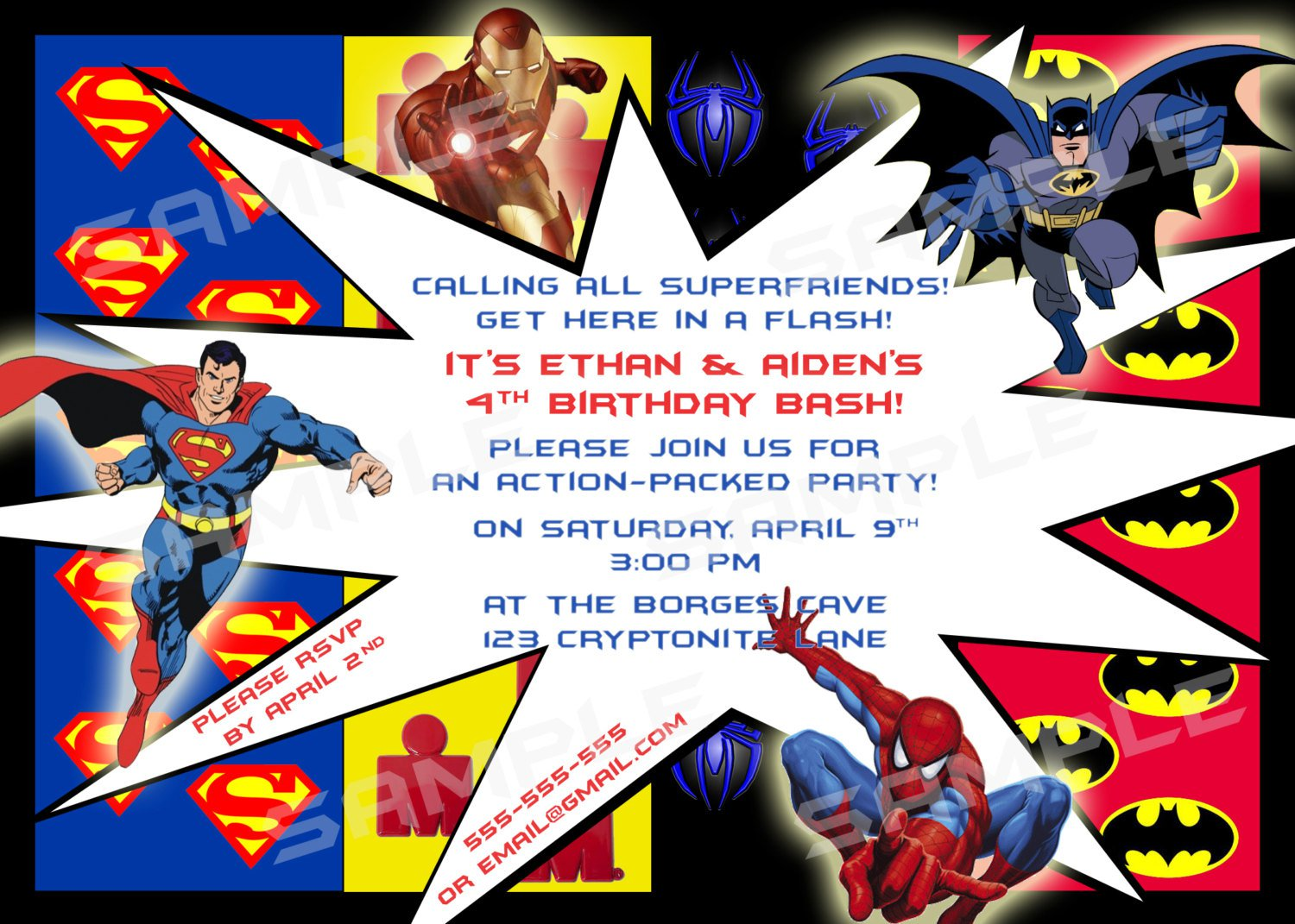 It is a picture of Monster Free Printable Superhero Birthday Invitation Templates