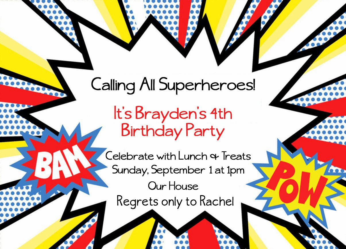 Nerdy image in free printable super hero invitations