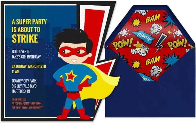 Superhero Invitations For Boys