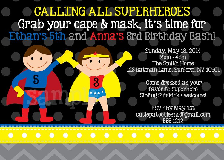 Superman Birthday Invitations Printable