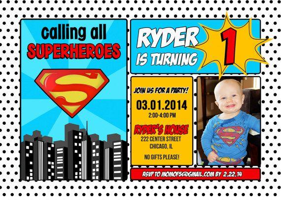 Superman Invitations For Boys