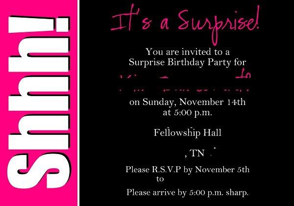 Surprise 18th Birthday Party Invitation Wording