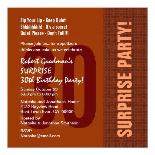 Surprise 30th Birthday Invitations For Him