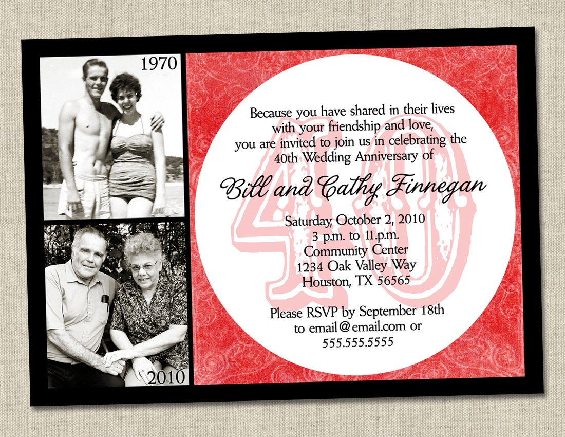 Surprise 40th Anniversary Party Invitations
