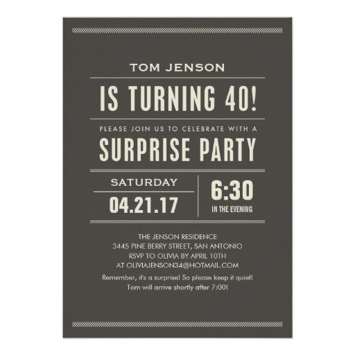 Surprise 40th Birthday Invitations For Her