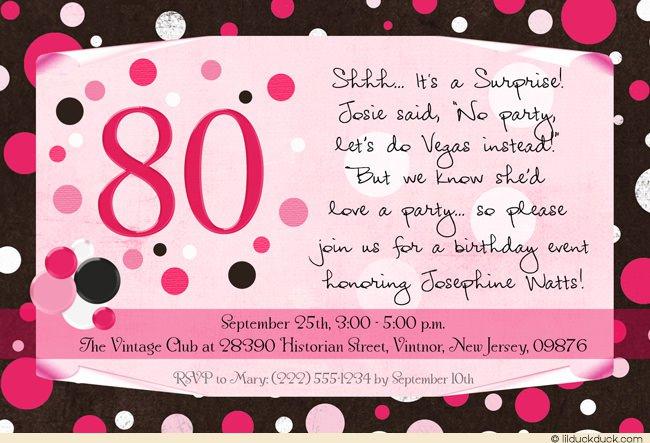 Surprise 80th Birthday Invitation Wording