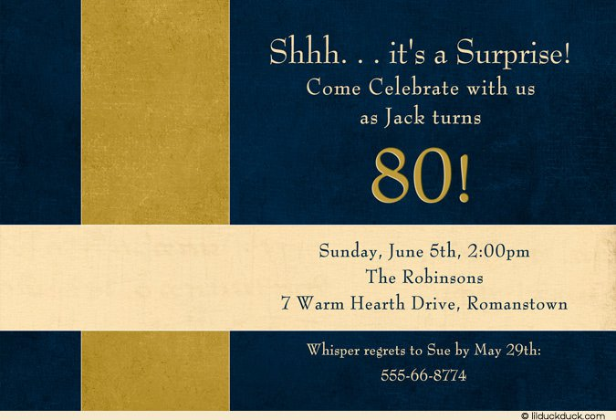Surprise 80th Birthday Invitation Wording Ideas