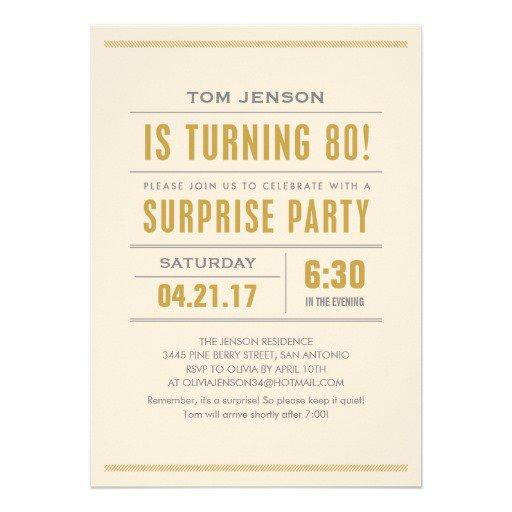 Surprise 80th Birthday Party Invitation Wording