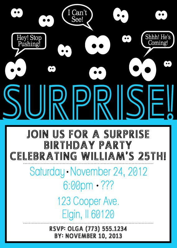 Surprise Party Invitations For Men