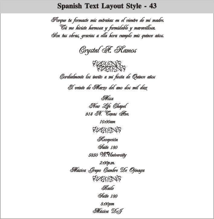 Wedding Invitation Wording Samples In Spanish: Sweet 15 Invitations Ideas