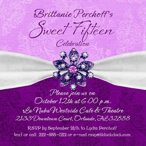 Sweet Fifteen Invitation Wording
