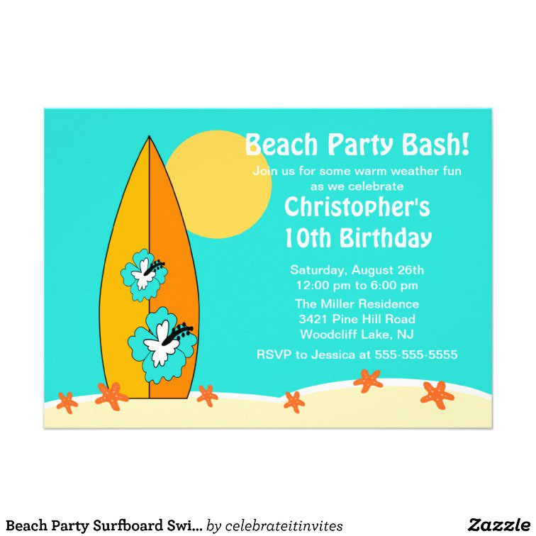 Swimming Birthday Invitations