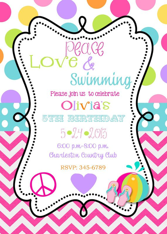 Swimming Birthday Party Invitations Wording