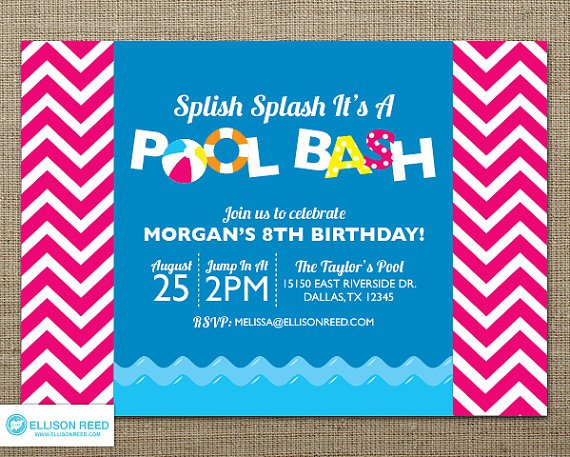 Swimming Party Invitations To Print