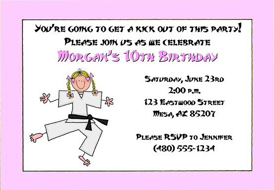 Tae Kwon Do Party Invitations