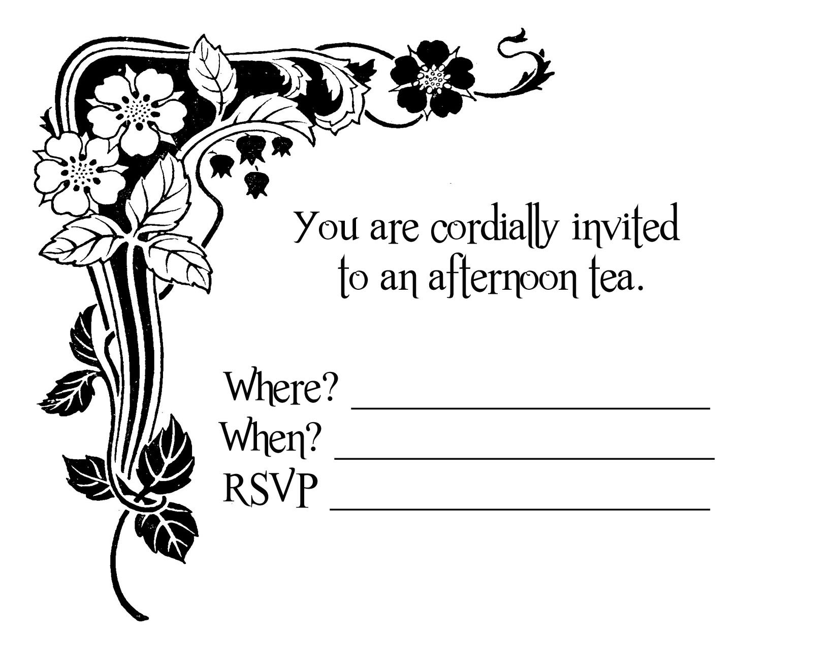 Kitchen Tea Party Invitation Party Invitation Blank Templates