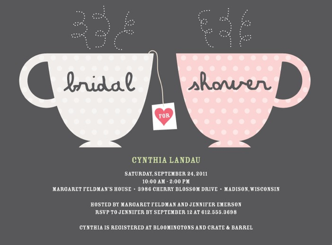 Tea Party Invitation Wording For Bridal Shower