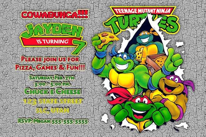 Teenage Mutant Ninja Turtles Birthday Party Invitations Printable