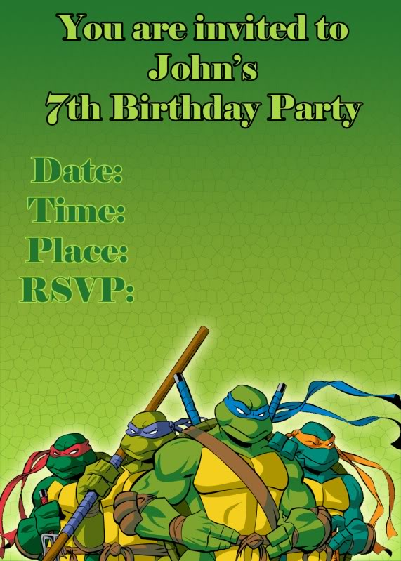 Ninja Turtle Party Invitation Templates