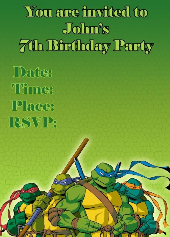 Teenage Mutant Ninja Turtles Party Invitation Templates