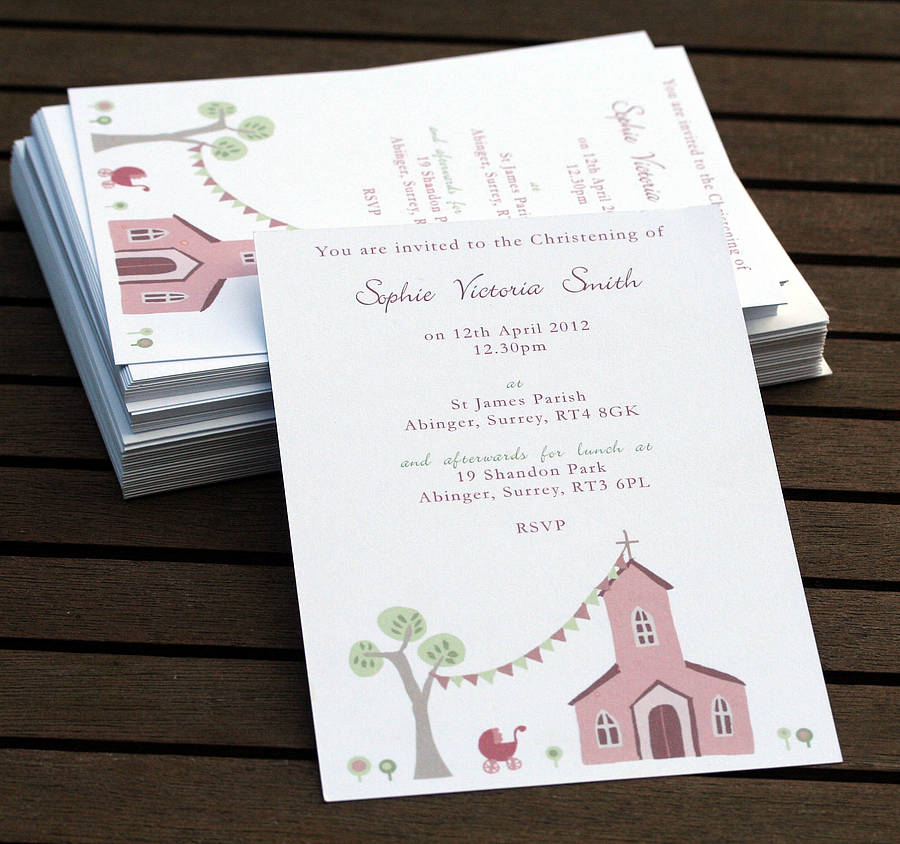 Templates For Girls Christening Invitations