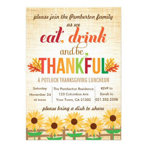 Thanksgiving Luncheon Invitation Wording