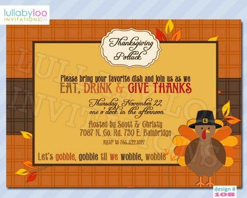 Thanksgiving Potluck Invitation Wording