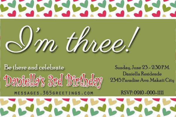 Third Birthday Invitation Wording