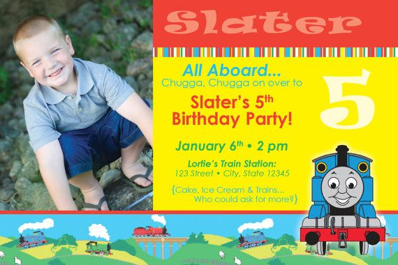 Thomas Invitations Birthday 4 Years