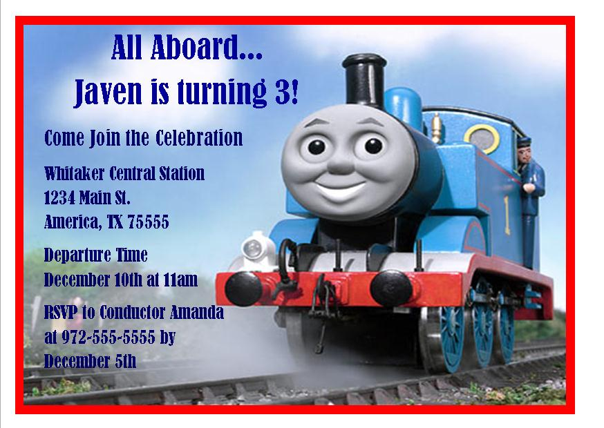 The Train 3rd Birthday Invitations – Thomas the Train Birthday Invites