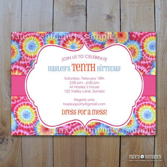 Tie Dye Invitation Blank