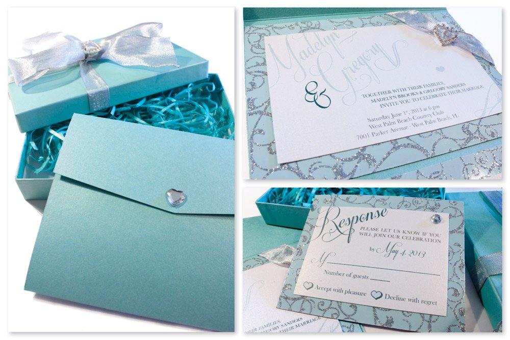 Tiffany Blue Beach Wedding Invitations