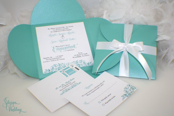 Tiffany Blue Engagement Party Invitations