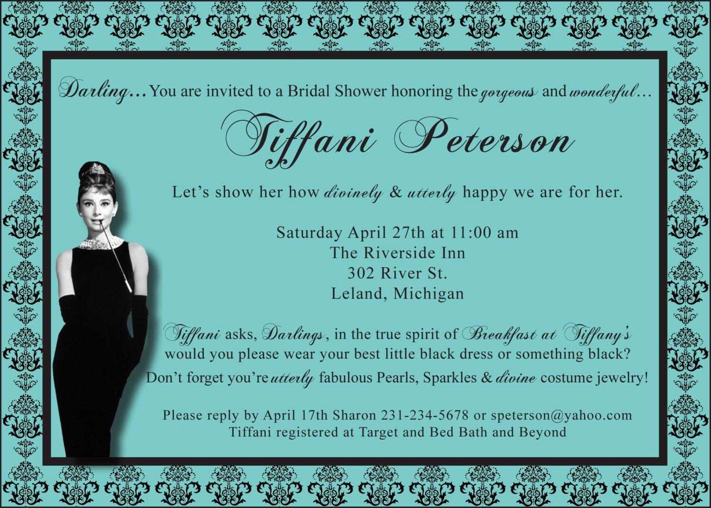 Tiffany Bridal Shower Invitation Wording