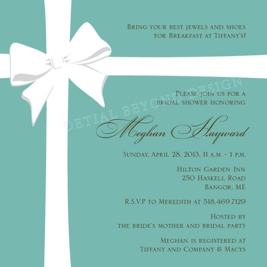 Tiffany Bridal Shower Invitations