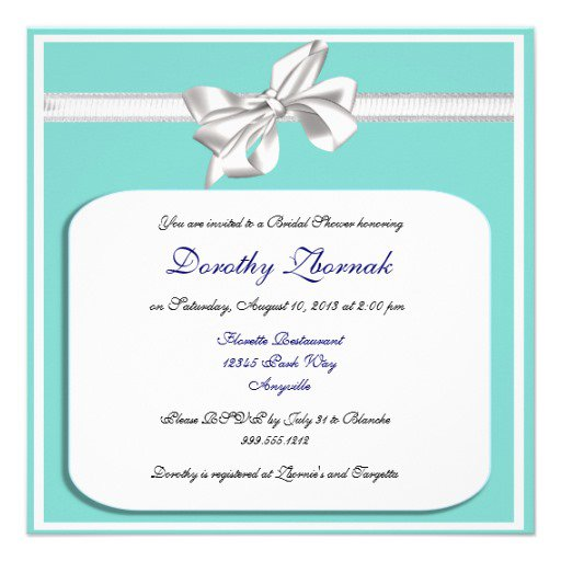 Tiffany Color Bridal Shower Invitations