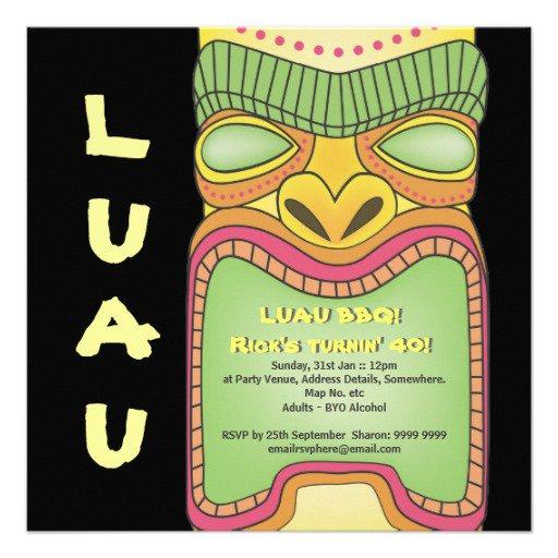 Tiki Luau Party Invitations