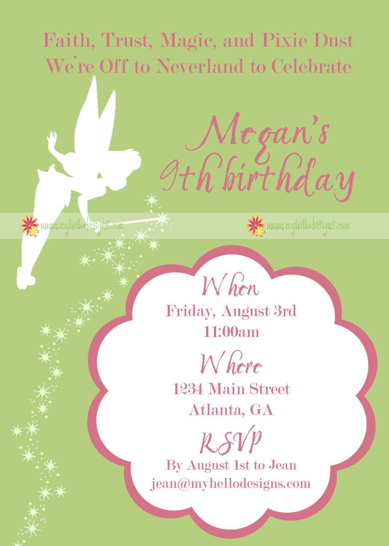 Tinkerbell Birthday Invitations Handmade
